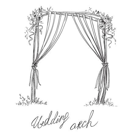 Wedding arch. Decoration. Vector sketch. Design element.
