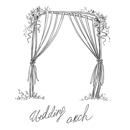 arch: Wedding arch. Decoration. Vector sketch. Design element.