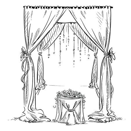 婚禮: 婚禮拱門。婚禮聖壇。裝飾。矢量草圖。設計元素。 向量圖像