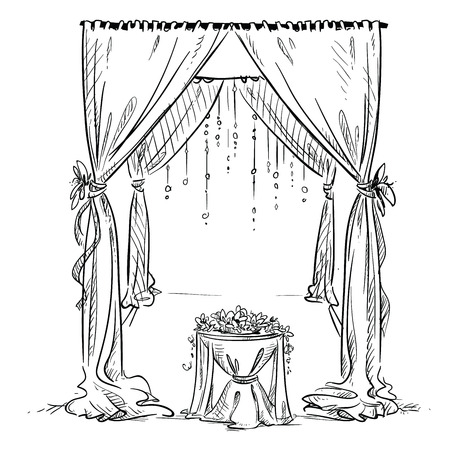 ceremonies: Wedding arch. Wedding altar. Decoration. Vector sketch. Design element.