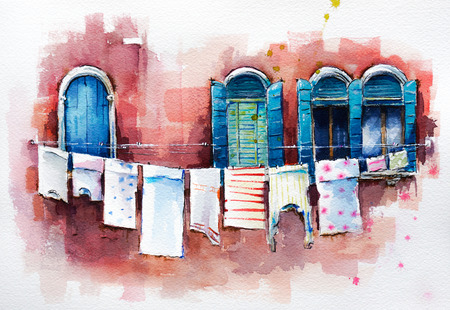 paper art: Venetian windows.  Watercolor painting.