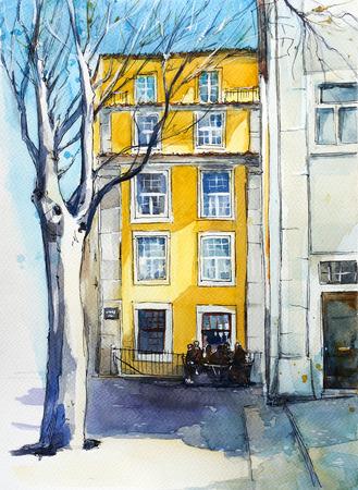 window shade: Quiet Lisbon street. Watercolor sketch.