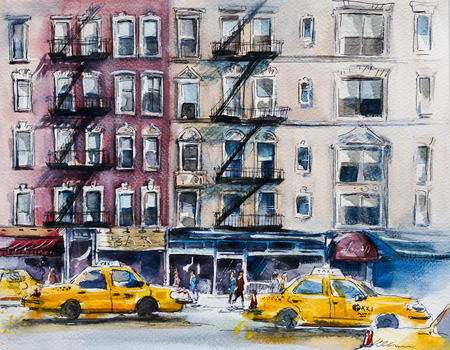 busy street: Busy New York street. Watercolor sketch.