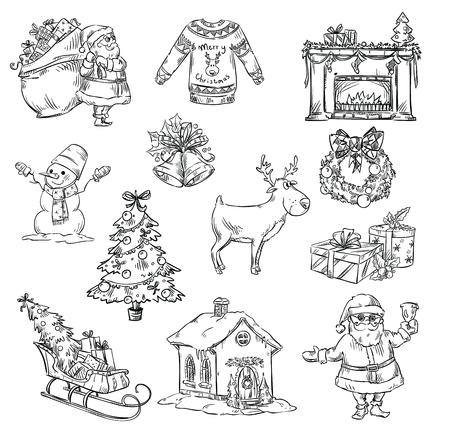 Auswahl von Weihnachten Symbole, von Hand gezeichnet Standard-Bild - 47647031