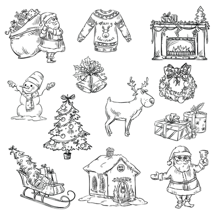 hand tree: Selection of Christmas symbols, hand drawn