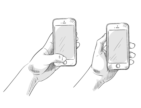hand holding phone, hand drawn, vector illustration Stock Illustratie
