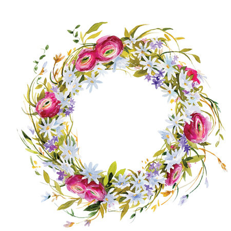 hand painted watercolor wreath. Flower decoration. Floral design. vector illustration