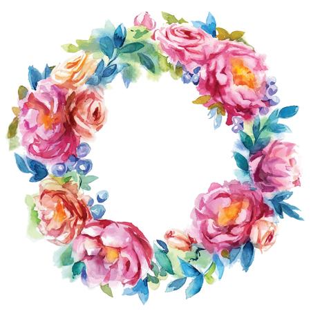 pfingstrosen: Hand bemalt Aquarell-Kranz. Blumendekoration. Floral-Design. Vektor-Illustration.