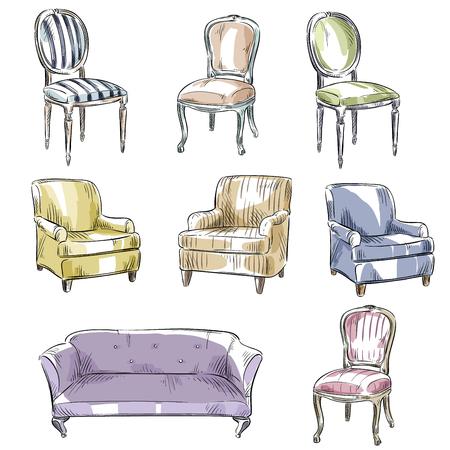 silla: un conjunto de sillas y sofás dibujado a mano, ilustración del vector