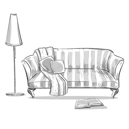 white pillow: hand drawn interior element. Comfortable sofa and a lamp