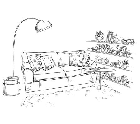手描きのインテリア要素。快適なソファ、ランプ、本棚