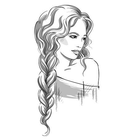 braid: Sketch of a beautiful girl with braid. Black and white. Fashion illustration , vector EPS 10
