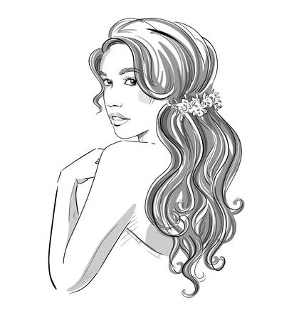 ブライダルヘア スタイルを持つ美しい少女のスケッチ。黒と白。ファッション イラスト、ベクター eps 10
