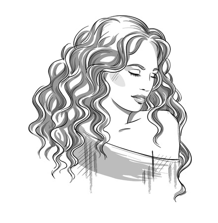 woman looking down: Sketch of a beautiful girl with curly hair. Black and white. Fashion illustration, vector EPS 10 Illustration