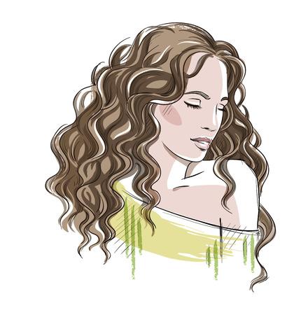 cabello rizado: Bosquejo de una muchacha hermosa con el pelo rizado. Ejemplo de la moda, vector EPS 10