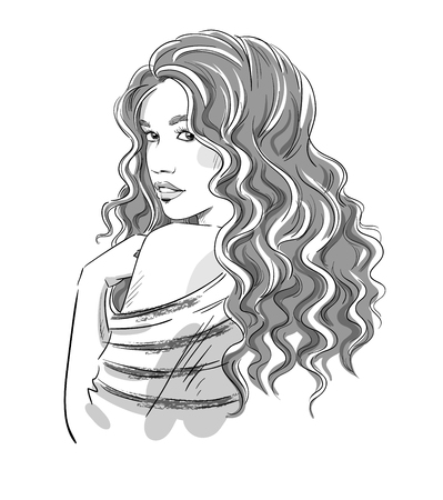 black hair girl: Sketch of a beautiful girl with curly hair. Black and white. Fashion illustration , vector eps 10. Illustration