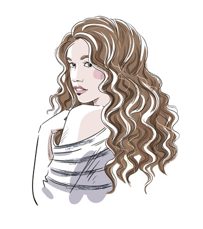 cabello rizado: Bosquejo de una muchacha hermosa con el pelo rizado. Ejemplo de la moda, vector eps 10.