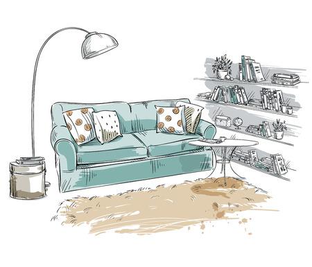 Hand drawn élément intérieur. Canapé confortable, lampe et étagères