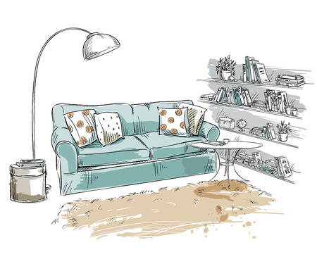 line drawing: Hand drawn interior element. Comfortable sofa, lamp and bookshelves