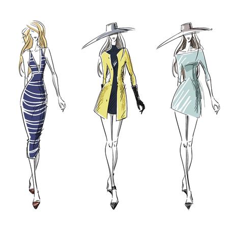 Latem i jesienią wygląd, moda ilustracji
