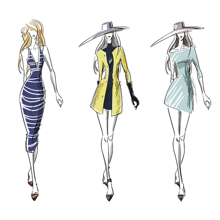Summer and autumn look, fashion illustration Vectores