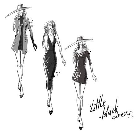 작은 검은 드레스. 패션 일러스트