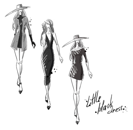 dress coat: Little black dress. Fashion illustration