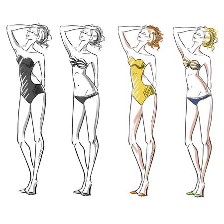 traje de baño: chica atractiva que lleva bikini, ilustración de moda Vectores