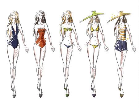 bikini top: bikini catwalk, fashion illustration