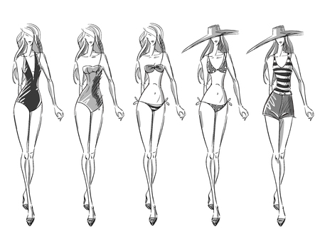 bikini catwalk, fashion illustration