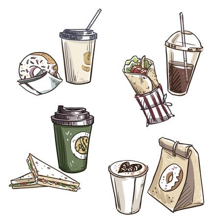 selection of takeaway snacks. takeaway packaging. Fast food. Vectores