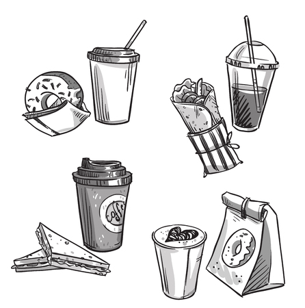 lunch: selection of takeaway snacks. takeaway packaging. Fast food. Illustration
