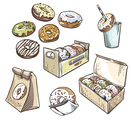 glazing: selection of donuts.  takeaway packaging. Fast food.