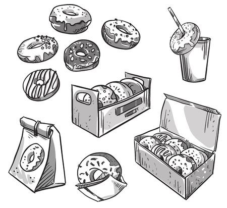 selección de donuts. envases de comida para llevar. Comida rápida.