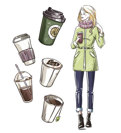 woman drinking tea: Girl having a snack. Take away coffee.