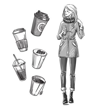 femme dessin: Fille ayant une collation. Otez café.