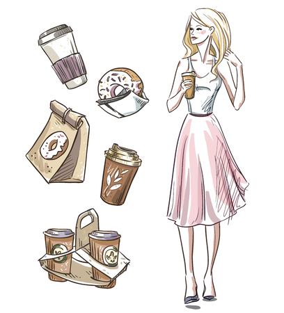 femme dessin: Fille ayant une collation. Donuts et café. À emporter.