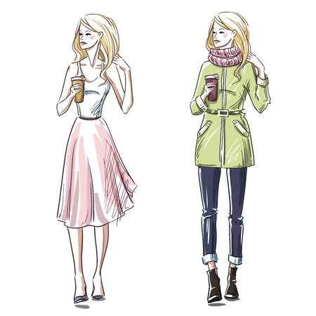 Fashion illustration. Winter and summer look. Street style. 向量圖像