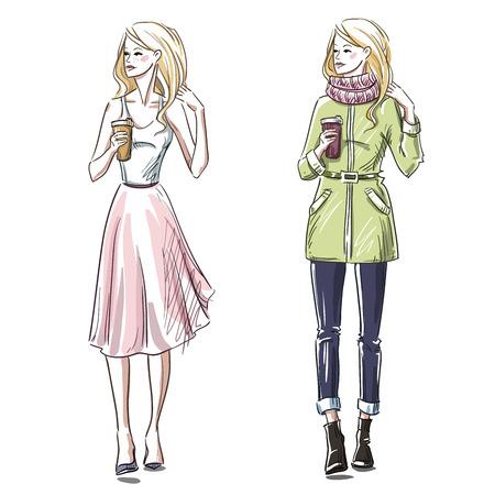 Fashion illustration. Winter and summer look. Street style. Vettoriali