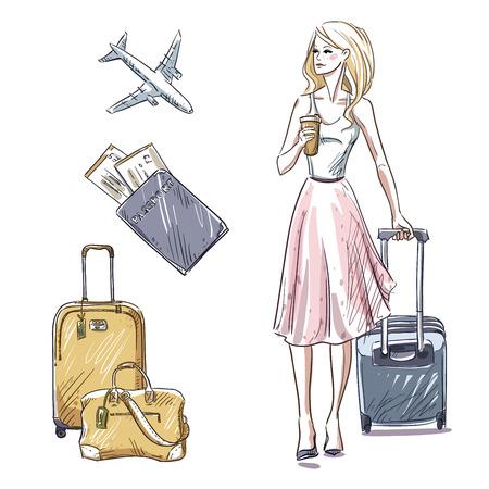 Reise. Gepäck. Mädchen, das mit einem Gepäcktasche. Vektorgrafik