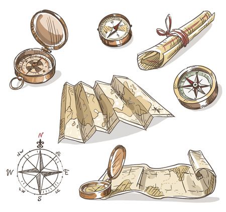puntos cardinales: set brújulas y mapas od