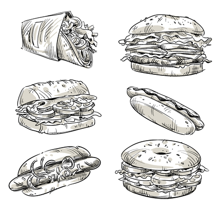 Sandwiches. Fast food. Snacks.