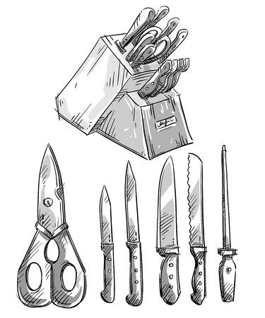 utensil: Set of knives. Kitchen utensils.