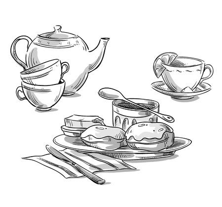Tea serving. Tea and scones.