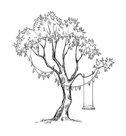 Drzewa i huśtawka.