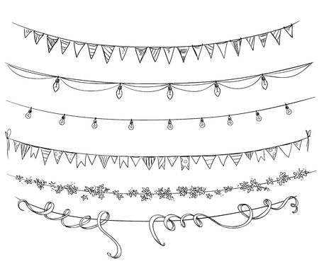 Set of decorations. Flags and lights. Illustration