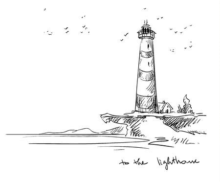 latarnia morska. Ilustracje wektorowe