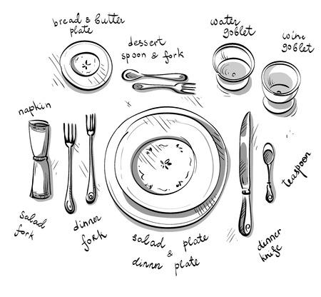 ustensiles de cuisine: Réglage de la table.
