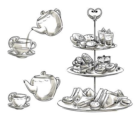 Set of snacks on a tray. Teatime.
