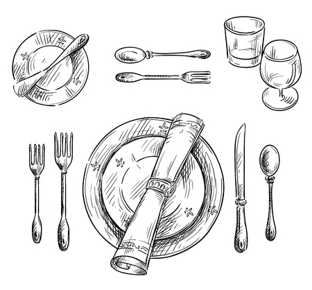 black and white line drawing: Table setting.